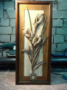 Деревянная картина цветок