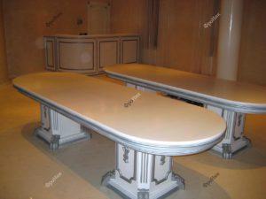 Круглый стол из дерева белый